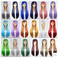 Wholesale Cosplay anime wigs of cm long straight hair female color color more stage wig