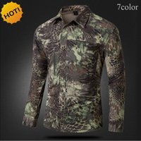 Wholesale New Two pieces Sleeve Camouflage Quick drying Men Thin Shirts Breathable Shirt Army Cargo Snake Texture Print Zipper pocket
