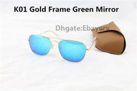 50pcs Par DHL lunettes de soleil Rectangle mode pour les hommes Womens Lunettes Lunettes de soleil Caravan Gold Metal 58mm verre lentille avec Brown Cases et Box