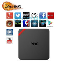 Acheter Cartes ethernet sans fil-Mini TV Box M9S 1G / 8G Smart Android 6.0 HD Quad Core Amlogic Box Sans fil IPTV Box Support Carte USB TF avec package de vente au détail