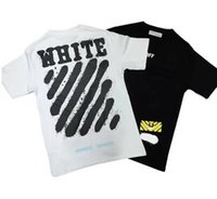 Wholesale Brand Clothing T Shirt Men Off White China Spring Summer Classic Letter Basic Stripe Print Cotton T shirt Tee Men Tshirt