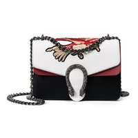 Wholesale Women Animal Embroidery Bag Designer Vintage Chain Lock Cross Body Bag PU Flap Fashion Ladies Patchwork PU Leather Message Bag
