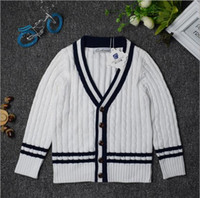 Wholesale 2016 new children s wear long sleeved sweater thick sweater boy button cotton all match British children s sweaters