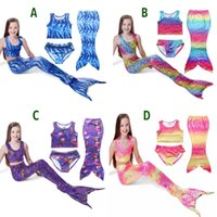 Cheap Three-piece Mermaid Swimsuits Best Girl Children's Day Mermaid cosplay
