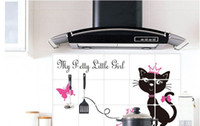 PVC black cabinets kitchen design - Fashional Black Cat Oil Resistant Kitchen Stickers Aluminum Foil Heat Resistant Waterproof Wall Sticker Anti Oil Paste Art Decals Home Decor