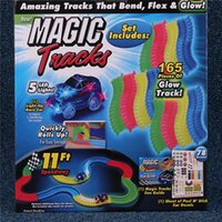 Wholesale DHL Magic Tracks Bend Flex and Glow Racetrack Children Toy Car DIY Assembled Suit Children Railcar with Feet Piece Glow Track