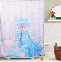Wholesale x180cm Waterproof Polyester Snowman Pattern Shower Curtain Bathroom Decor with Hooks Your Best Choice