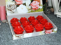 Wholesale 78g Rose Flower Shape Candles set Colorful Dinner Candles Wedding Home Party Decoration Shipped with Red Color