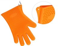 Wholesale BBQ Grilling Gloves Most Versatile Oven Mitts Insulated Waterproof Anti skipTotal Finger Cooking Cleaning Grilling Oven Pairs