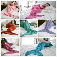 Wholesale 7 Colors Adult Crochet Mermaid Tail Blankets Sleeping Bags Costume Cocoon Mattress Knit Sofa Blanket Handmade Living Room free ship