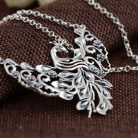 angels technology - Thai silver S990 sterling silver chain set antique old peacock Pendant Necklace Pendant New Technology