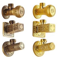 Wholesale Wall Mounted Antique Artistic Angle Valve Bathroom Kitchen Faucet Brass Valve Hot And Cold Water Tap Accessories Sanitary