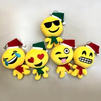 Wholesale Christmas QQ Expression Emoji Smiley Doll Keychains Cute Cartoon Plush Pendant Keychains High Quality cm