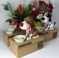Wholesale NEW Choken Puppy Hungry Eating Dog Kids Coin Bank Money Saving Box Christmas Gift