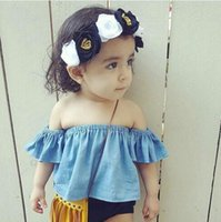 Fashion Round Neck Girl 2017 Infant Baby Girls Off-shoulder T-shirts Toddler Fashion Cotton Jumper tees Babies Spring Casual shirts children's clothing
