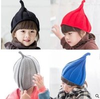 Unisex Spring / Autumn Crochet Hats Kids knitting wool hats Children's windmill watermelon hats pointed candy multicolor caps