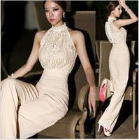 loose pants for women - 2016 Sexy Lace Jumpsuits for Women Korea halter pearl collar strapless High waist stitching lace chiffon Loose harem Jumpsuit Rompers pants
