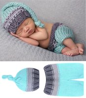 Wholesale Newborn Baby Photography Props Photo Crochet Outfits Knit Baby Pants and Hat Months Newborn Photo Accessories BP020