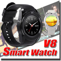 Wholesale V8 Smart Watch Bluetooth Watches Android With M Camera MTK6261D Smartwatch For Android and iPhone Micro Sim TF Card With Retail Package