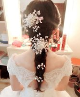 Wholesale The bride headdress handmade pearl crystal pearl headdress flower Korean combs hair combs pearl of marriage Red white