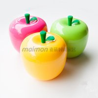 Wholesale Fashion Solid Apple Storage Box Cute Fruit Fork Plastic Kids Children Baby Dinnerware Sets Yellow Red Green