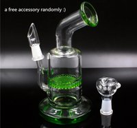 Wholesale New Arrival Glass Bongs Smoking Bong Honey Comb Green Blue Bong with mm male joint