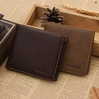 Wholesale Crazy Horse Leather Wallet Antimagnetic Business Trade Man Cowhide Multifuational Billfold Short Pattern Cross Square Scratch Two Folds