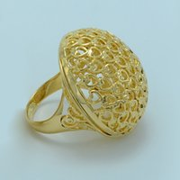 arab brazil - Heart African Big Ring for Women Men k Gold Plated Ethiopian Wedding Rings Jewelry Ring Nigeria Brazilian Brazil Arab