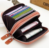 barrel organ - Organ Card casual Genuine Leather Coin Wallets Fashion Business Men Card and Women Double zipper Holder Credit Card h37