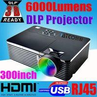 al por mayor trasera del proyector-Venta al por mayor-Calidad superior 6000ANSI 15000: 1 proyector lleno del hd 1080p HDMI USB RJ45 de la educación de la educación que anuncia proyector trasero de la película Beamer