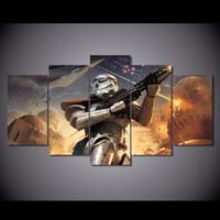 al por mayor marco digital de la pared-5 PC / set HD enmarcó el arte abstracto moderno de la pared de la lona del cuadro del cartel de la impresión de la decoración del sitio de los niños de la pintura de la película de Star Wars