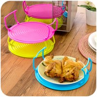 Wholesale 3 Colors Microwave Plastic Stand Multifunction Kitchen Plate Rack Plastic Stacker A Lid And A Cooling Rack Microwave Oven Heating Layered