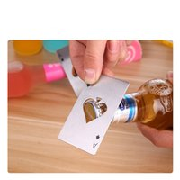 Wholesale New Hot Sale Soda wine Beer Bottle Cap Opener Stainless Steel Poker Playing Card of Spades Bar Tool Gift