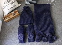 Wholesale South Korea s autumn winter scarf hat glove three piece suit Couples with more girls birthday present warm scarf