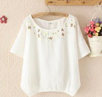 Wholesale The summer new leisure embroidery short cotton women s coat small fresh embroidery ladies white T shirt