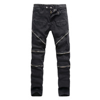Wholesale New High Street Tide Brand Rider Denim Men pants Bardian zipper Solid Slim High Quqlity cotton Male Biker Jeans