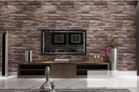 Wholesale New D Luxury Wood Blocks Effect Brown Stone Brick M Vinyl Wallpaper Roll Living Room Background Wall Decor Art Wall Paper