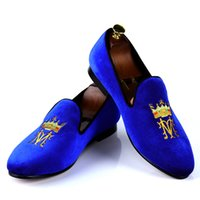 Wholesale Harpelunde Blue Velvet Classic Men Wedding Shoes With Embroidery Leather Lining US Size