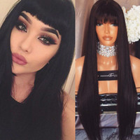 bangs hairstyle - 7A Brazilian Full Lace Wigs With Full Bangs Lace Front Human Hair Wigs Long Straight Glueless Full Lace Wigs For Black Woman