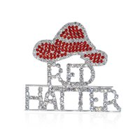 Wholesale Rhinestone Red Hat Theme Brooch Pins Jewley for Red Hatter Ladies
