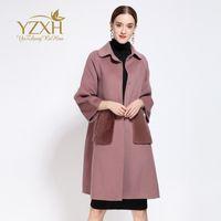 america sheep - Europe station winter new style sheep wool woolen overcoat coat long sleeve coat Europe and America women dress