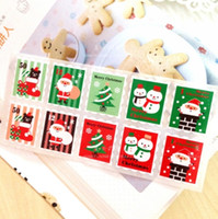 Wholesale Santa clause Snowflake Christmas stamps style adhesive stickers Christmas Party DIY packaging label Sealing Decoration