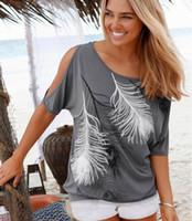 Tipos de pantalones cortos para las mujeres España-Las mujeres al por mayor-Nuevas de la manera imprimieron las camisas sin tirantes de las camisetas del hombro de la camiseta short-sleeved Tipo flojo tapas 003 de las señoras