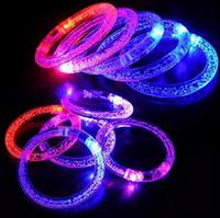 Wholesale 8 cm Acrylic Glitter Glow Flash Light Sticks LED Crystal Gradient Color Hand Ring Bracelet Bangle Creativity Dance Party Supplies Toy