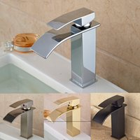 Wholesale Promotion Deck Mount Square Waterfall Bathroom Kitchen Mixer Faucet Single Handle Water Tap with Hot Cold Water