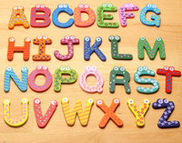 baby refrigerator magnets - 2600pcs set Children Kids English Alphabet Refrigerator Magnets Big Anti Rust Thickened Baby Wooden Fridge Magnet Magnetic Sticker