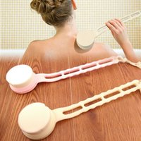 bath grip handles - SPA Scrubber Grip Massager Bathing Long Handle Soft Fiber Body Bath Shower Back Brush