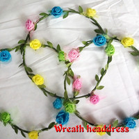 area girls - Flashing light children wreath headdress travel simulation sponge flower belt lights hot area
