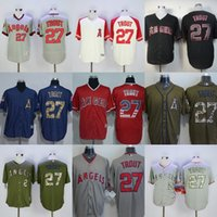 anaheim angels jersey noir achat en gros de-Factory Outlet Los Angeles Angels of Anaheim 27 Mike Trout Hommes Femmes Enfants Tout-petits Drapeau noir Green Grey Beige Blue Baseball Jerseys