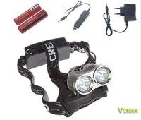 Wholesale 2 XML T6 Headlamp Flashlight Rechargeable ModesXml T6 Head Torch Linterna Battery Ac Car Charger